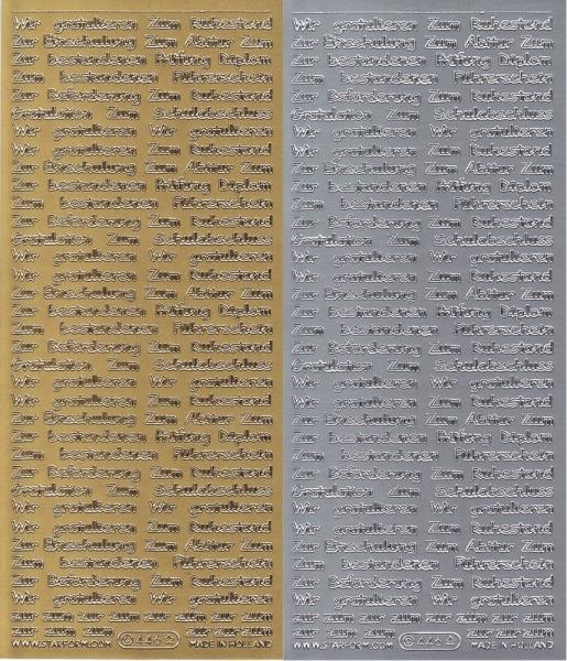sort. Glückwünsche - Schule / Beruf - Sticker - in Gold oder Silber - Format 10x23cm
