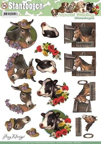 Pferd, Esel und Kuh - Animal Medley - 3D - Stanzbogen