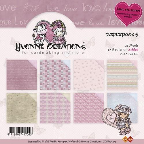 Motivpapier-Set / Scrapbook - Yvonne Creations - Love