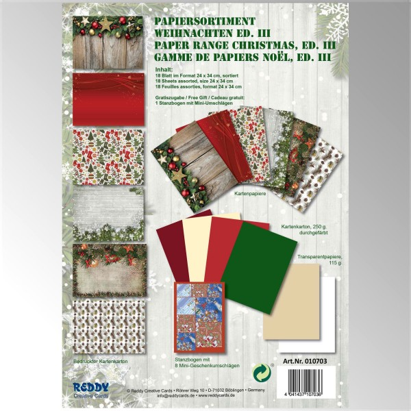 Papiersortiment Weihnachten Edition III - von Reddy Creative Cards