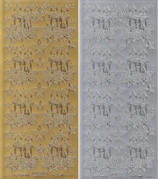 """Sticker - """"Adventskerzen"""" in Gold oder Silber - Format 10x23cm"""