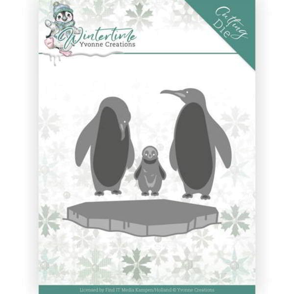 Penguins on ice - Winter Time - Stanzschablone