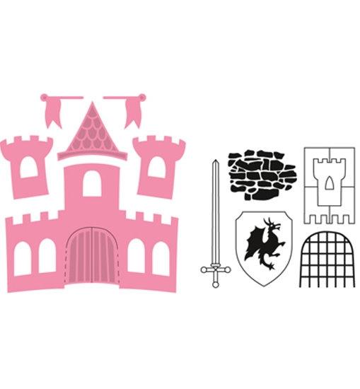 Schloss / Castle - Stanzschablone + Clearstamp´s im Set