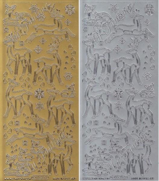 Rehe - Sticker in Gold oder Silber - Format 10x23cm