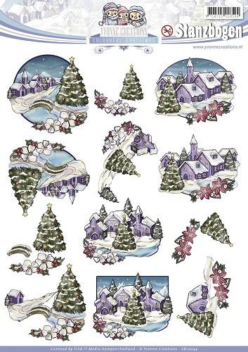 Weihnachtlicher 3D - Stanzbogen von Yvonne Creations - Winterlandschaft