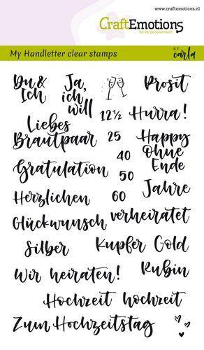 Handletter - Hochzeit - Clear Stamp - Stempelplatte von Craft Emotions (130501/1864)