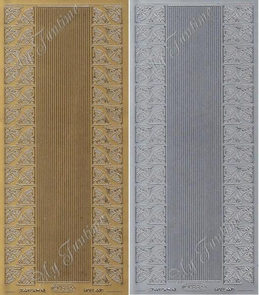 """Sticker - """"Ecken & Bordüren - Weihnachtsglocken"""" in Gold oder Silber - Format 10x23cm"""