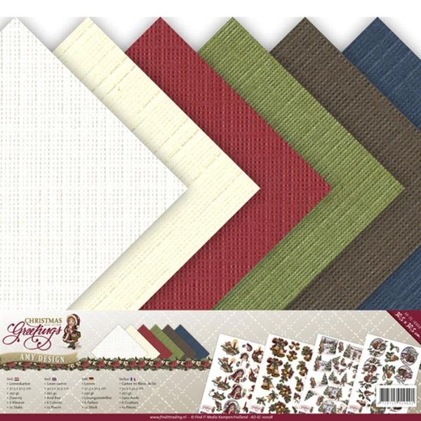 "Christmas Greetings - 12"" x 12"" - Amy Design - Leinenpapier-Set"