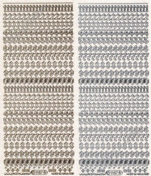 Zahlen / Nummern Transparente Sticker mit Glitter- / Glitzereffekt in Gold oder Silber - Format 10x2