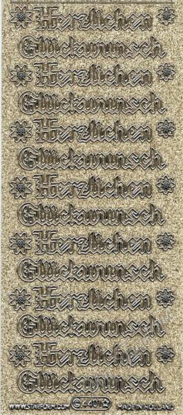 Herzlichen Glückwunsch - Gothic - Sticker mit Glitter- / Glitzereffekt in Gold