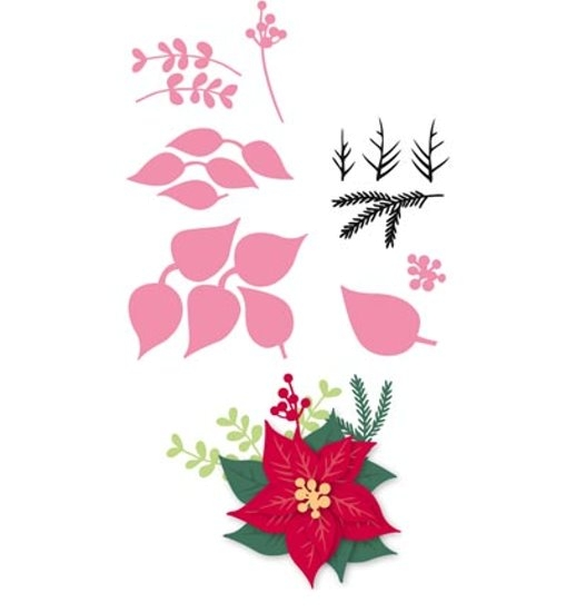 Weihnachtsstern / Poinsettia - Stanzschablone + Clearstamp - Set