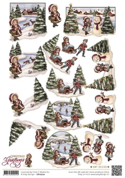Weihnachtslandschaft - 3D - Schneidebogen
