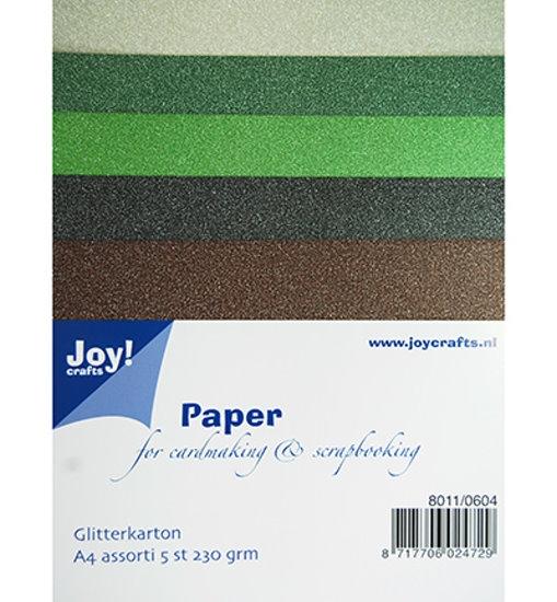 Glitterkarton / Glitterpapier - Set 4