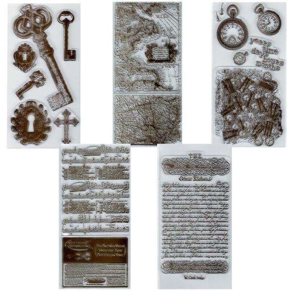 "Vintage ""Schlüssel & Noten"" - Set - Stempel - Clearstamp"