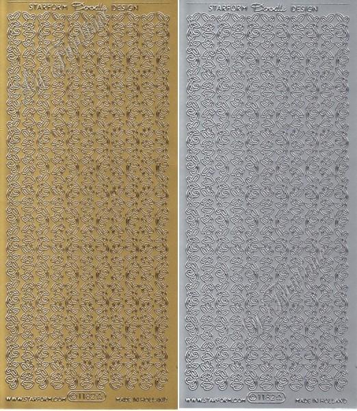 Bordüren, Herzen und Schmetterlinge - Sticker - Gold oder Silber - Format 10x23cm