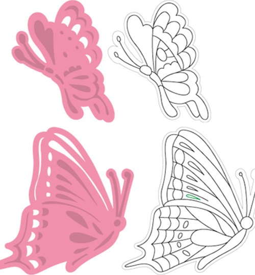 Schmetterling 3 - Stanzschablone und Stempel im Set
