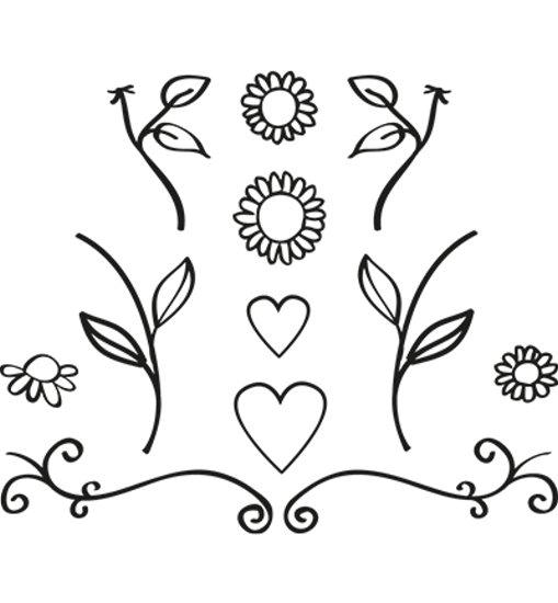 Stempel - Quilling Clearstamp - Blumen & Herzen