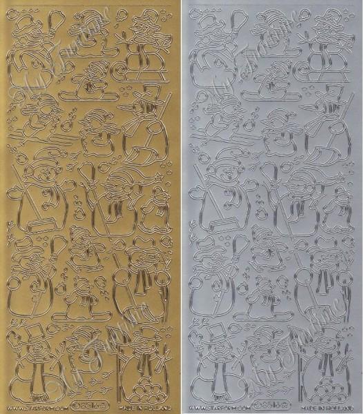 """Sticker - """"Schneemänner"""" in Gold oder Silber - Format 10x23cm"""