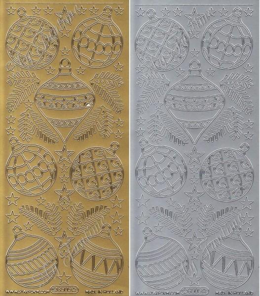 "Sticker - ""Christbaumkugeln"" in Gold oder Silber - Format 10x23cm"