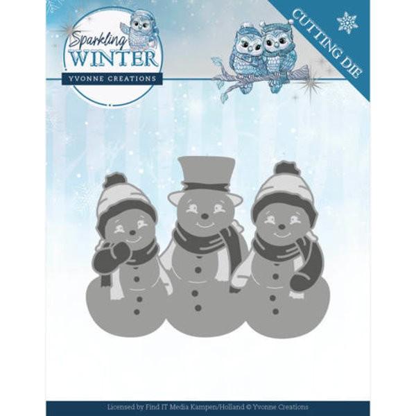 Schneemann-Familie / Sparkling Snowmen - Stanzschablone