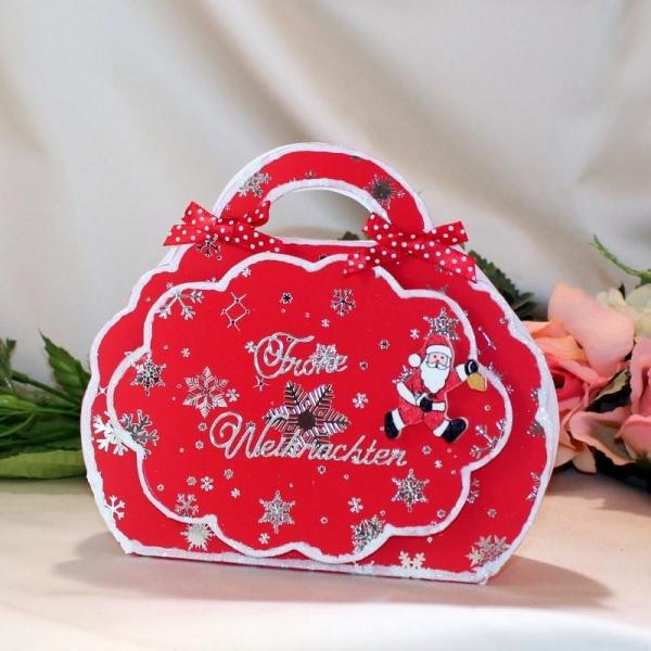 Geschenktasche zum Weihnachtsfest - Rot / Silber - laminiert