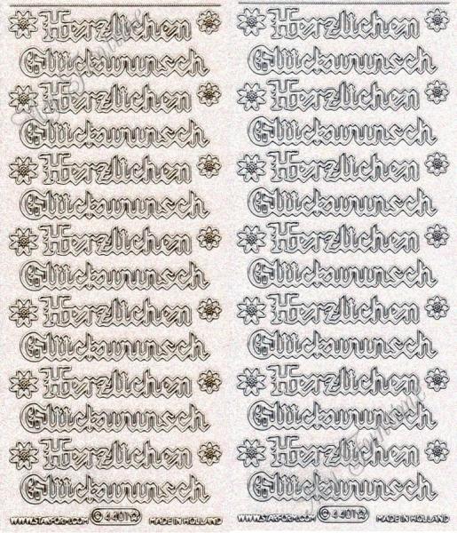 Herzlichen Glückwunsch - Gothic - Transparente Sticker mit Glitter- / Glitzereffekt in Gold oder Sil