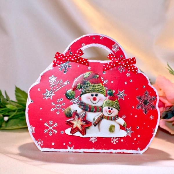 Geschenktasche zum Weihnachtsfest - Schneemann - Rot / Silber - laminiert
