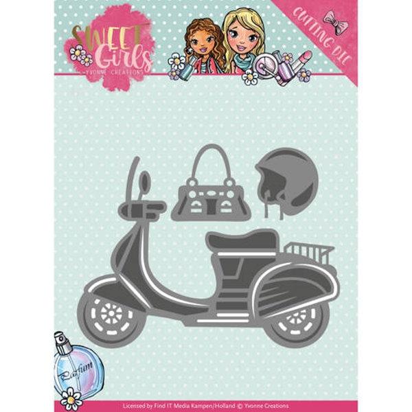 Motorroller / Scooter - Sweet Girls - Stanzschablone