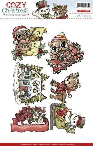 Weihnachtliche Motive - Eulen, Rentier, ... - Stempel - Clearstamp