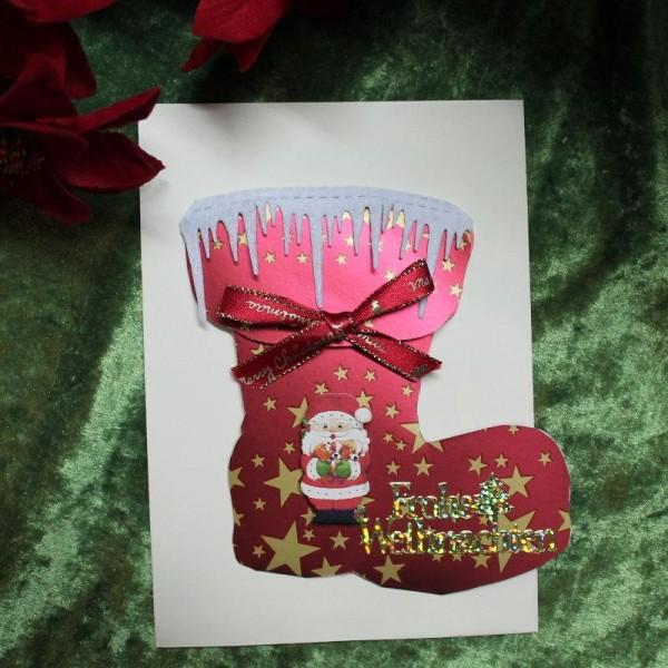 Weihnachtskarte in Form eines Stiefels
