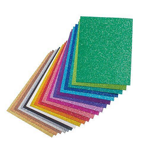 Glitterkarton / Glitzerpapier DIN A4 200 g/m² - 20 Bogen (bunt gemischt)