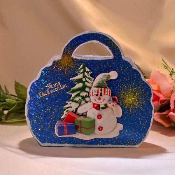 Geschenktasche zum Weihnachtsfest - Schneemann - Blau/ Gold - laminiert