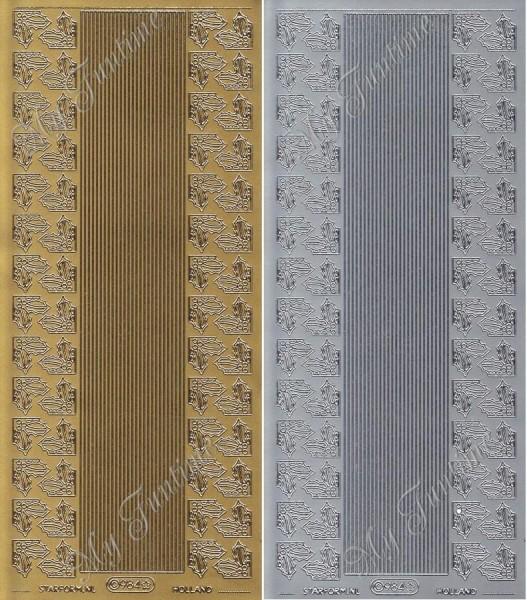 Ecken / Bordüren - Mistelzweig Sticker in Gold oder Silber - Format 10x23cm