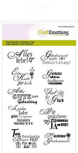 Glückwunsch-Texte - Clear Stamp - Stempelplatte von Craft Emotions (130501/1154)