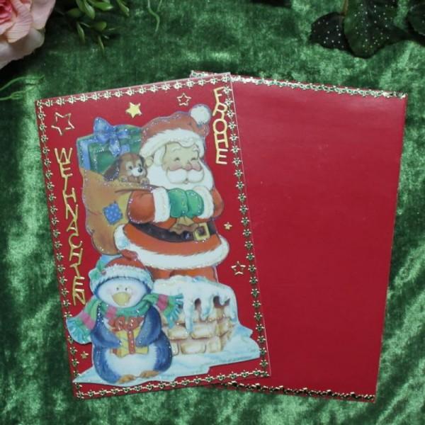 Grusskarte zum Weihnachtsfest (Weihnachtsmannmotive)