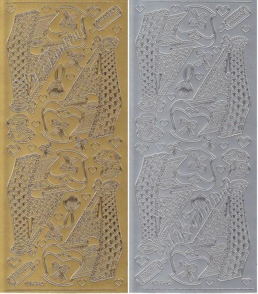 Sticker - Baby Bett / Wiege in Gold oder Silber - Format 10x23cm