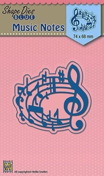 musical notes / Musiknoten - Stanzschablone - Shape Dies Blue