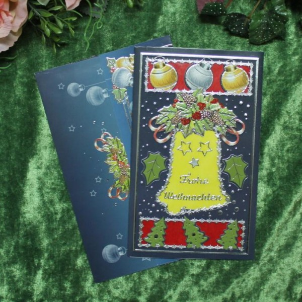 Grusskarte zum Weihnachtsfest -dukelblau mit Weihnachtsglocke