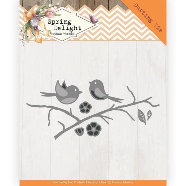 Spring Blossom / Vogel auf Ast - Stanzschablone