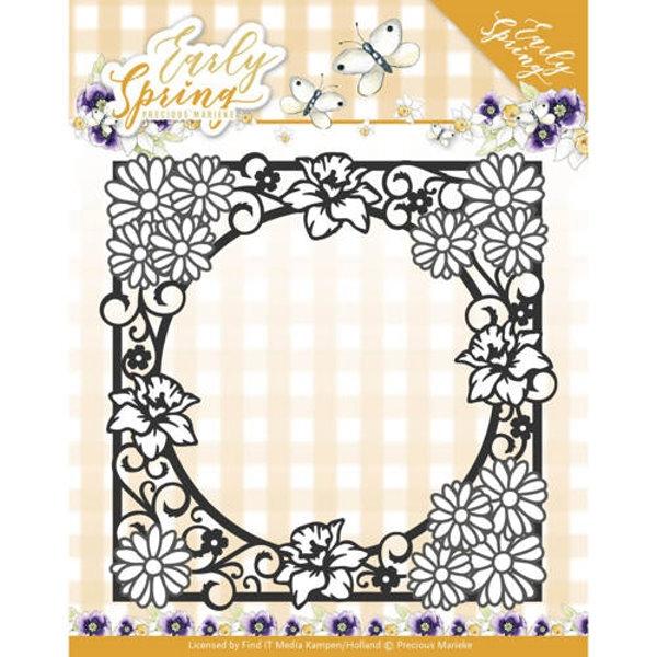 Spring Flower Square Frame - Stanzschablone