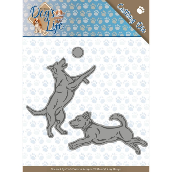 Spielende Hunde / Playing Dogs - Stanzschablone