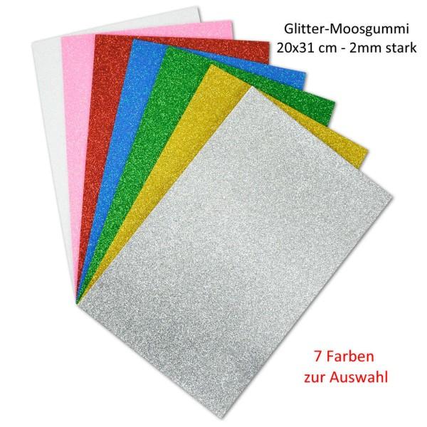 Glitter - Moosgummiplatten - 7 Farben zur Auswahl 20 x 31 cm / 2 mm stark