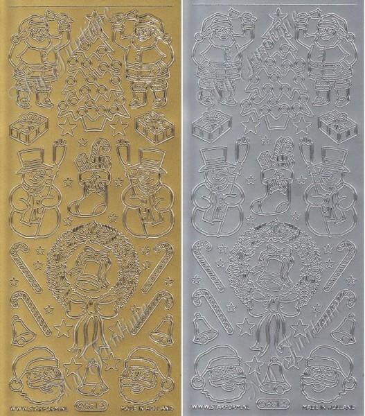 """Sticker - """"Weihnachtsmotive 1"""" in Gold oder Silber - Format 10x23cm"""