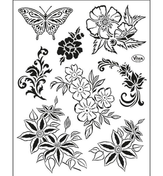 Blumen, klassisch - Stempel - Clearstamp