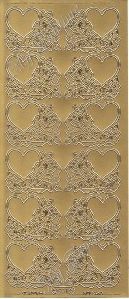 Sticker - Rosen und Herzen in Gold - Format 10x23cm