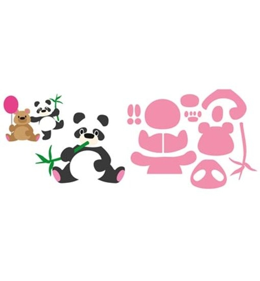 Eline´s Panda & Bär - Stanzschablone