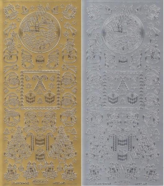 """Sticker - """"Weihnachtliche Motive 6"""" in Gold oder Silber - Format 10x23cm"""
