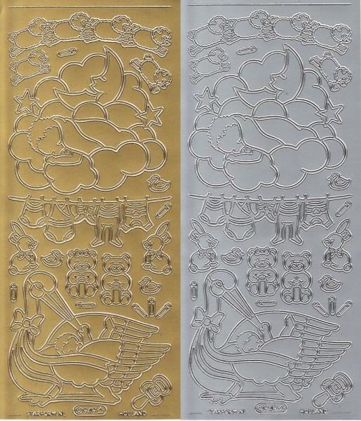 Baby Nr. 2 - Sticker - in Gold oder Silber - Format 10x23cm