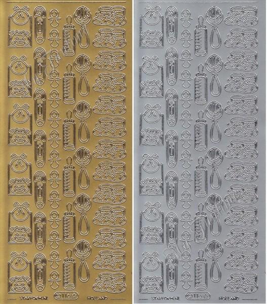 Sticker - Babymotive in Gold oder Silber - Format 10x23cm
