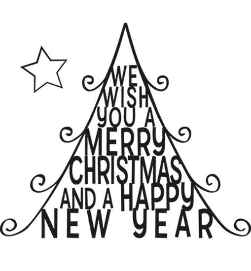 Weihnachtsbaum mit Spruch - Stempel - Quilling Clearstamp